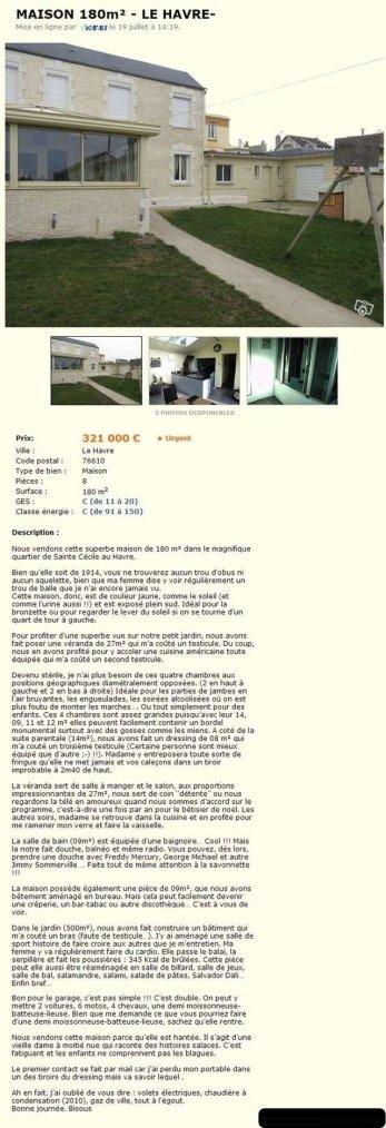 {Humour} Maison à vendre (à lire)