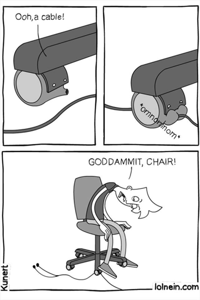 Quand une chaise rencontre un câble