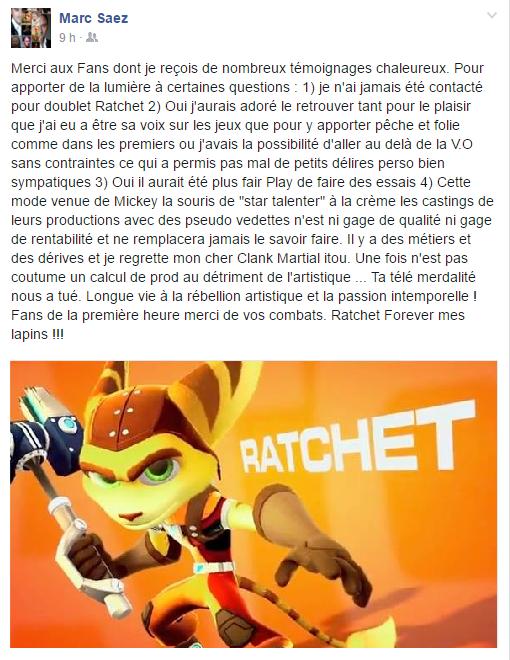 Ratchet, Mark Saez communique: