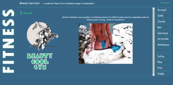 """Notre ancien site """"Beauty Cool Gym"""" :  Acceuil"""