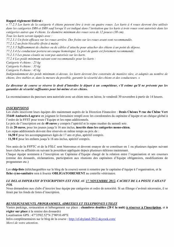 Inscriptions & modalités (suite)
