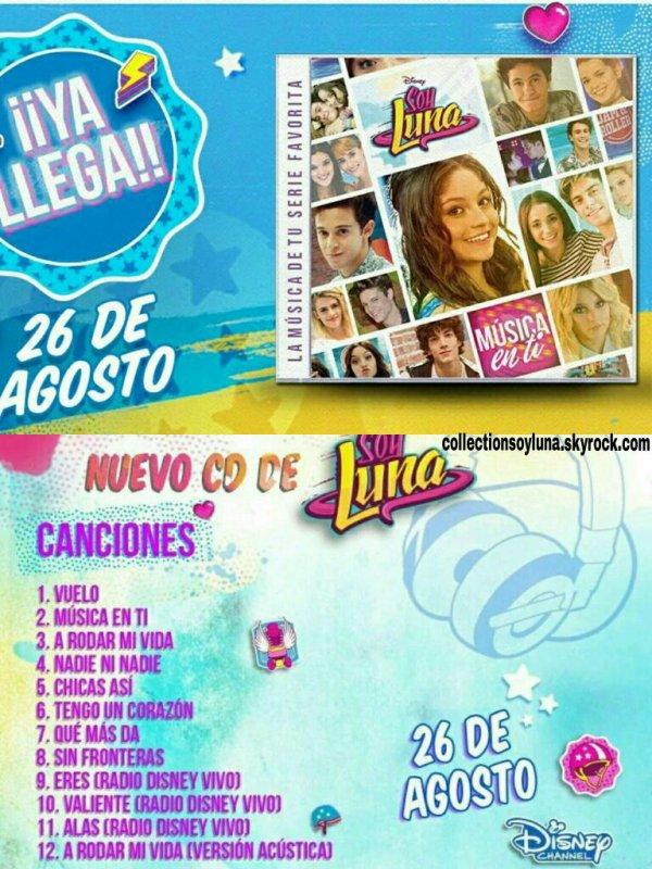 INFO || Le second cd de la première saison de Soy Luna sera disponible le 26 août en Amérique Latine et il comportera douze chansons !