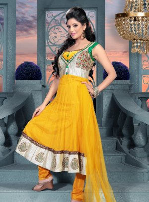 Fancy Long Anarkali Churidar dress with beautiful design and colours