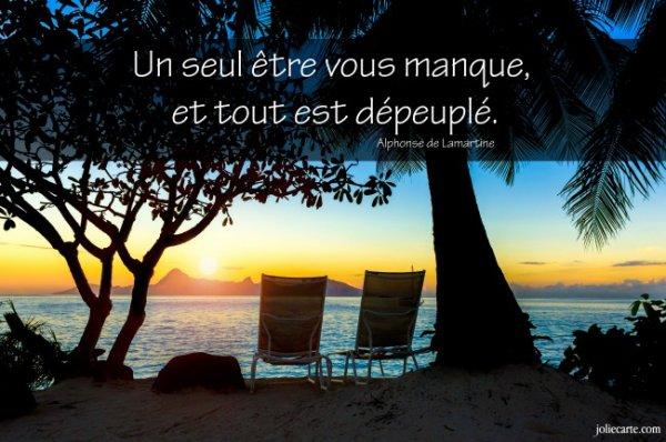 Une Citation Bien Vrai Un Etre Vous Manque Et Tout Est Depeuple De Alphonse De Lamartine Un Blog Pour Sameira En Sa Memoire