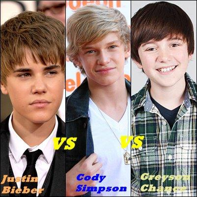 Justin Bieber VS Cody Simpson VS Greyson Chance :)    Qui préférez vous ???