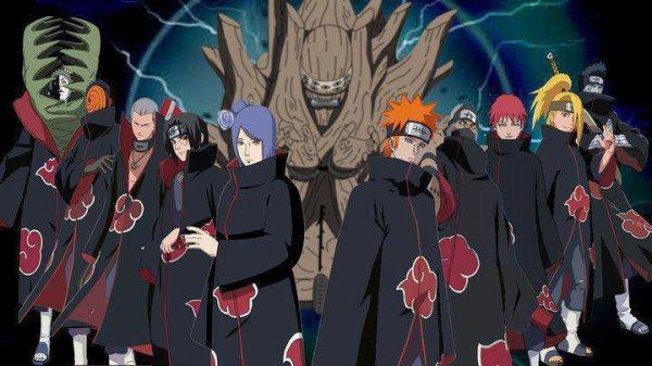 les membre de l'akatsuki réunie devant le gedo mazô