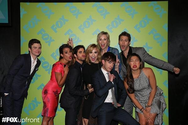"DEMI WITH THE CAST OF ""GLEE"" AT FOX UPFRONT."