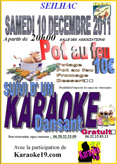 Grande soirée KARAOKÉ-POT AU FEU a Seilhac le 10 décembre