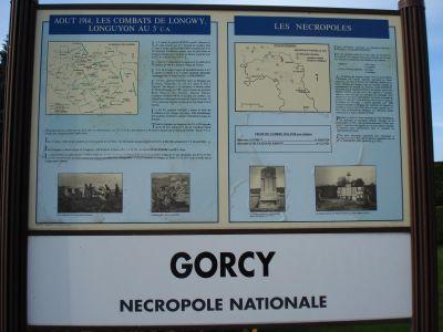 plan des combats, cimetière militaire de Gorcy