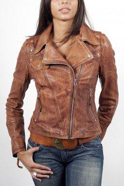 Blouson en cuir marron pour femme