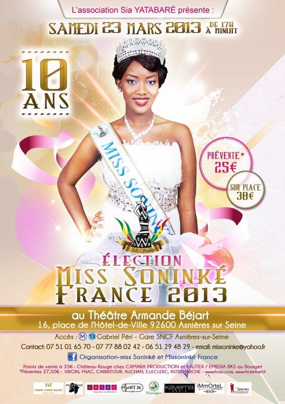 Samedi 23 Mars 2013, 10 éme Election miss soninké france