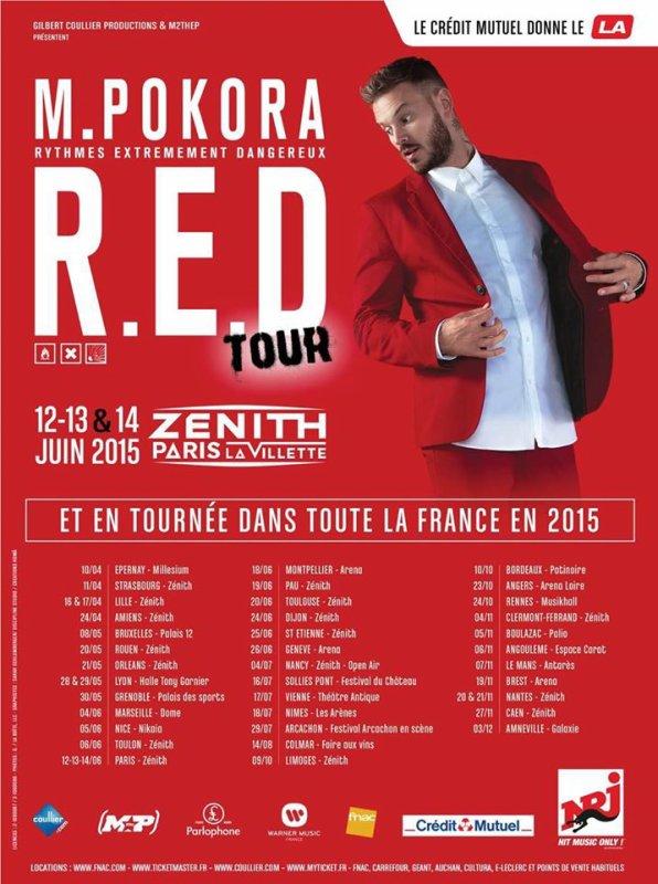 """Affiche & Teaser officiel(le)s pour la tournée """"M Pokora R.E.D Tour 2015."""""""