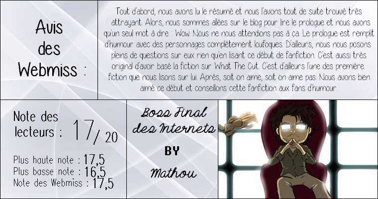 ◊ Titre : Boss Final des Internet ► Auteur : Mathou ► Fan-fiction ◊