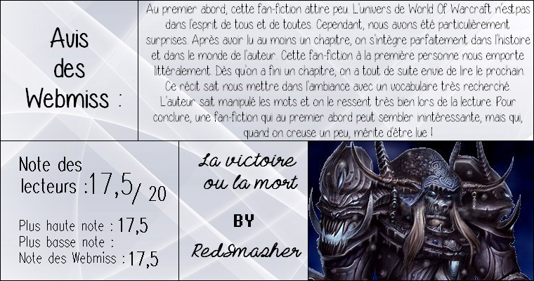 ◊ Titre : La victoire ou la mort ► Auteur : RedSmasher ► Fan-fiction ◊