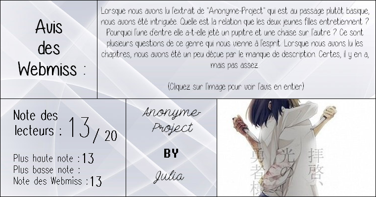 ◊ Titre : Anonyme-Project ► Auteur : Julia ► Fan-fiction ◊