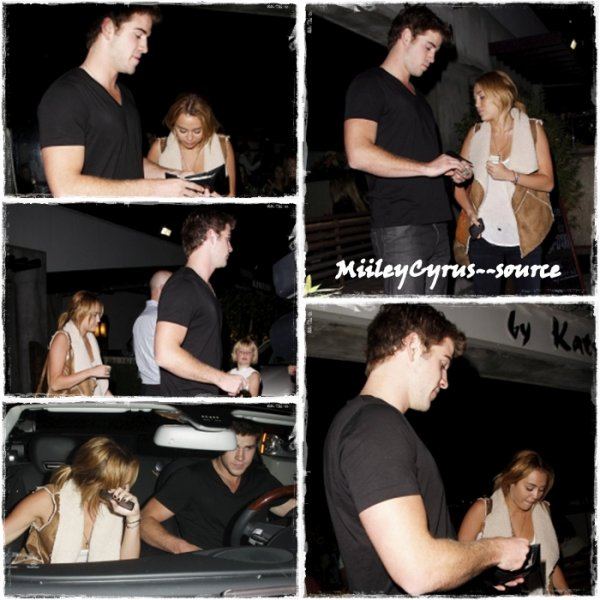 Le 16 aout 2011 : Miley et Liam ont dîné en amoureux chez Kiwami by Katsuya  à LA