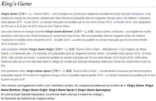 Critique Manga n°17: King's Game