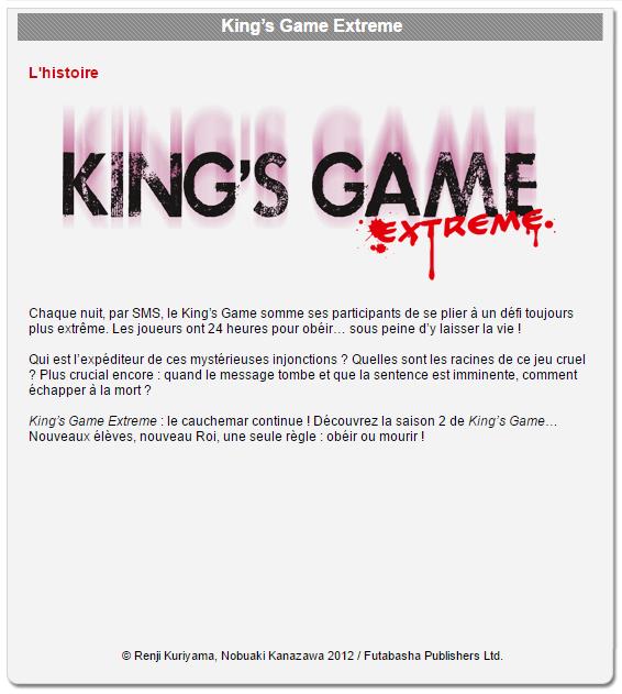 Critique Manga n°17: King's Game - PART 2-1