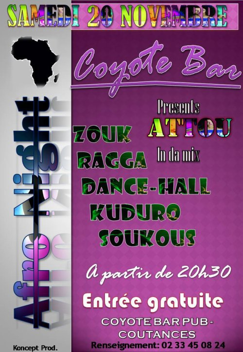 AFRO NIGHT au Coyote Bar Pub à Coutances