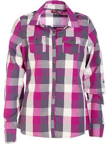 Chemise à manches longues à carreaux violet 10/16 ans