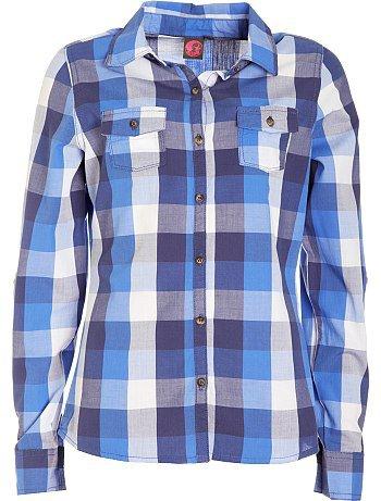 Chemise à manches longues à carreaux bleu 10/16 ans