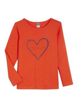 Tee - Shirt à manches longues orange avec motif imprimé 2/14 ans