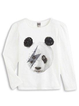 Tee - Shirt à manches longues blanc avec imprimé panda 2/14 ans