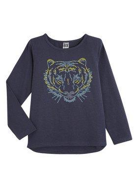 Tee - Shirt à manches longues bleu foncé avec imprimé lion 2/14 ans