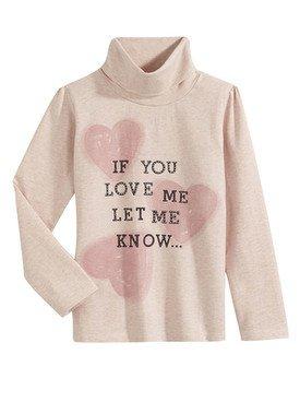 Sous - pull rose clair avec imprimé coeur 2/14 ans