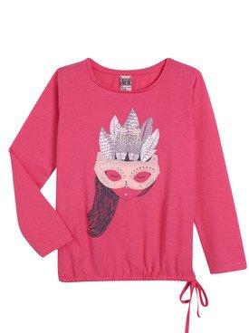 Tee - Shirt à manches longues rose avec imprimé  2/14 ans