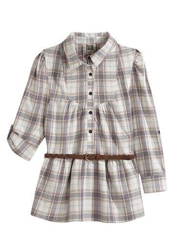 Chemise à manche longues à carreaux avec ceinture marron 2/14 ans