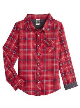 Chemise à manches longues à carraux rouge 2/14 ans