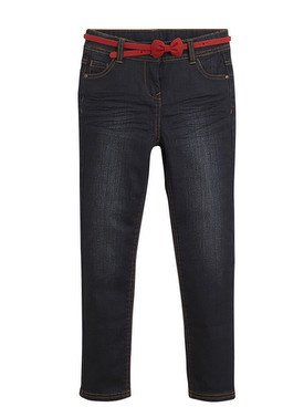 Pantalon slim avec ceinture rouge à noeud 2/14 ans