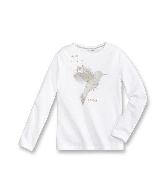 Tee - Shirt à manches longues blanc avec motif imprimé oiseau 2/14 ans