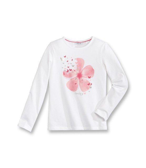 Tee - Shirt à manches longues avec motif imprimé fleur rose 2/14 ans