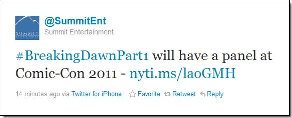 .  BONNE NOUVELLE ! Cette année, le cast de Breaking Dawn Partie 1 sera présent au Comic Con 2011. Kristen sera-t-elle là ?     .