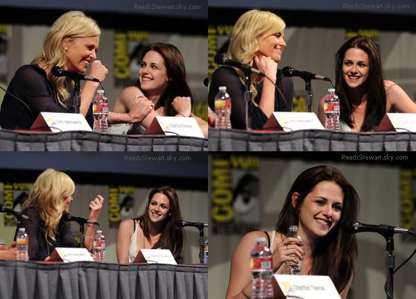 """.  23 Juillet - Kirsten était au Comic con pour présenter en compagnie de ses co-star son prochain film """" Blanche Neige et le Chasseur """"       ."""