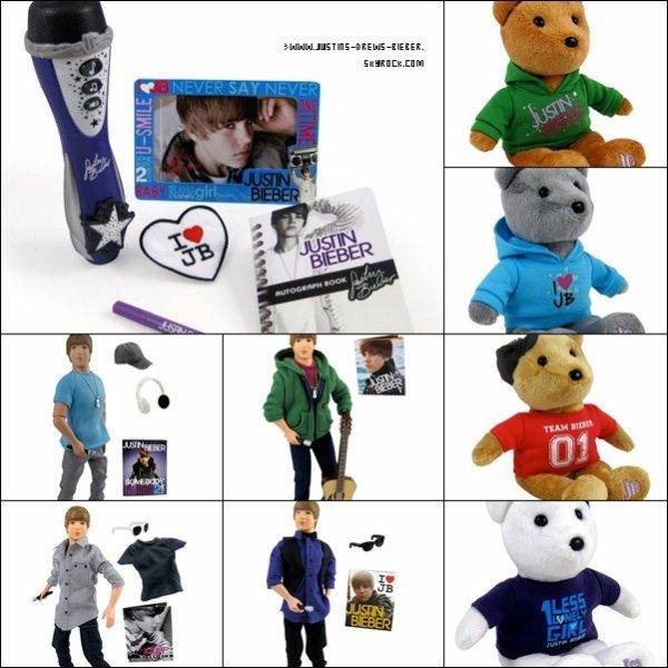 De nouveaux produits dérivés débarquent..  .  Une collection de poupées et peluches « Justin Bieber » sera bientôt disponible dans differents magasins americains.Les poupées seront basées sur trois differents styles de Justin; Justin dans ses clips videos, dans la vie de tous les jours et lors de ses concerts