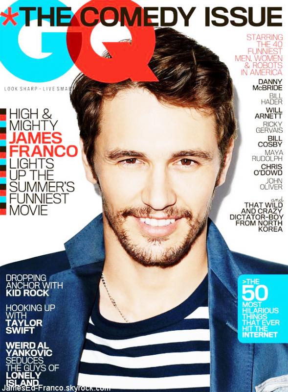"""- James Franco à la une de GQ USA juin 2013. """"James Franco est à la une de la version américaine du magazine GQ de juin 2013. L'acteur au style parfois douteux prend la couverture de l'un des magazines phare de la gente masculine. Focus sur le look de James Franco dans QG USA."""" #-"""