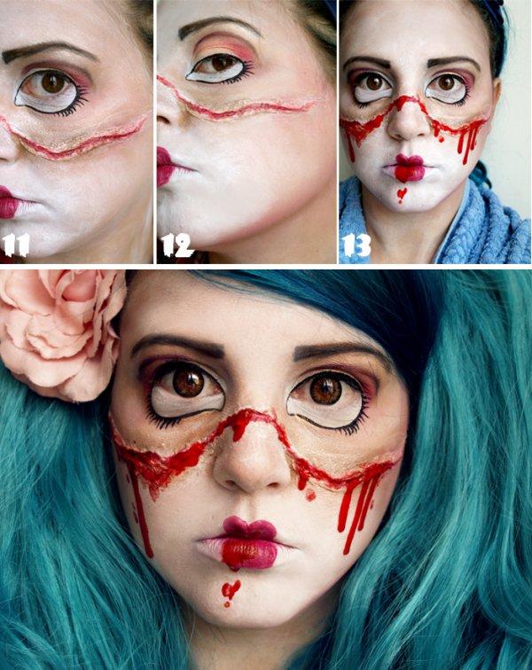 Maquillage poupée démoniaque