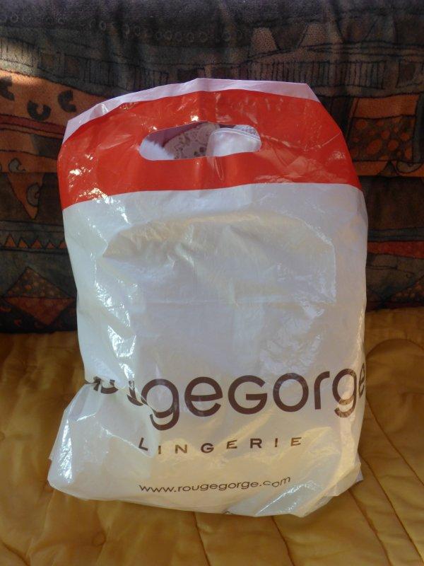 apres mon week en loire atlantique voici un sac avac un contenu mystere?????que peu t il contenir,,??Notre amie Muriel   a trouver  des vetements cathie?