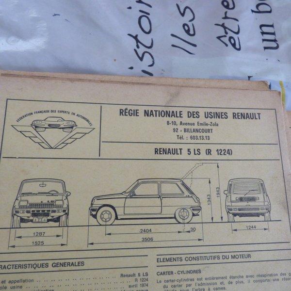 Supers trouvailles fiches descriptives des renault 5.     R5  LS.........R5  TL   GTL..........R5  1300  AUTOMATIC