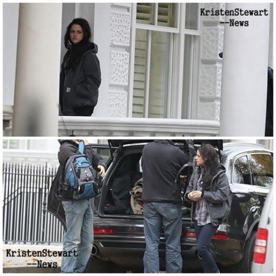 Kristen a été aperçut a sa maison à Londres en compagnie de Rob et Marcus Le 31 Octobre épuisé part le tournage de son nouveau film Blanche Neige et le Chasseur .