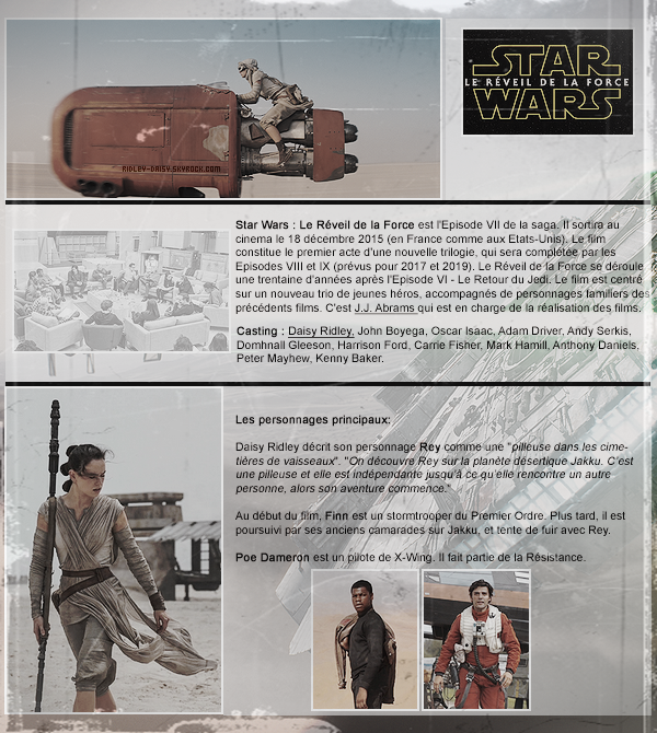 — STAR WARS : LE RÉVEIL DE LA FORCE.   Ecrit par Marie le 7 mai 2015 - catégorie : film.
