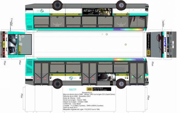 maquette de bus ratp ligne 49 en renault r312 coquille 5686 blog de vive le bus 49. Black Bedroom Furniture Sets. Home Design Ideas