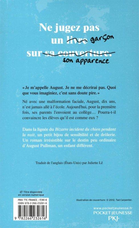 Livre qui traite du harcèlement : Wonder, par R. J. Palacio