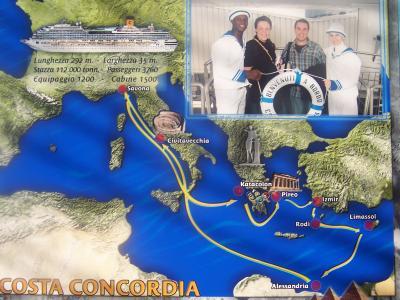 Au nom de l'équipage, nous vous souhaitons la bienvenue à bord du CONCORDIA