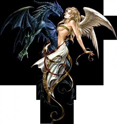 La femme et dragon bienvenue dans mon univers - Dessin ange demon ...
