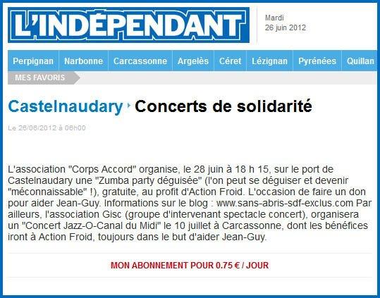 il n'y a pas que le festival à Carcassonne ,mais l'appel au soutien d'Actionfroid pour Jean-Guy
