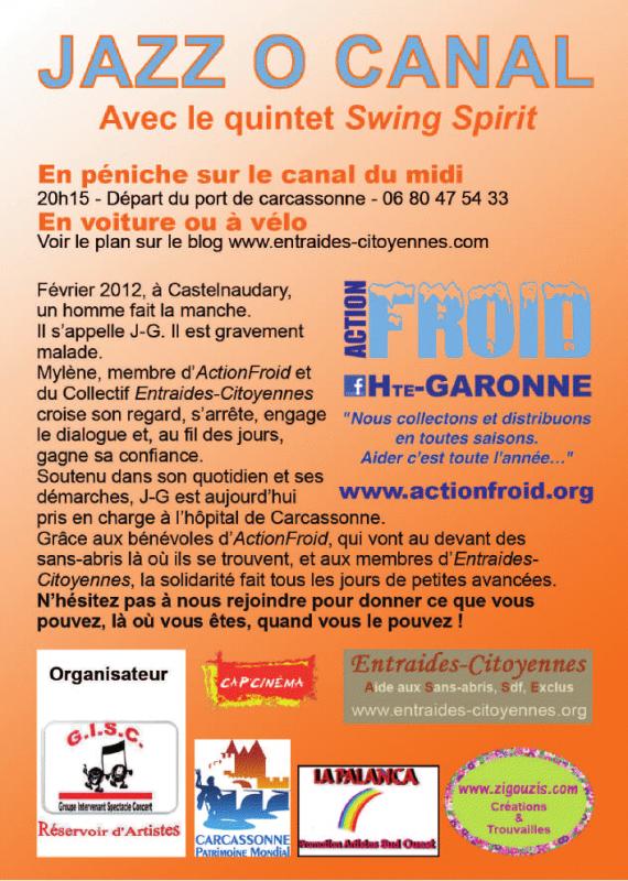 SWING SPIRIT if you want to be a lover  MARDI 10 juillet 2012  Association gisc organise  Jazz au canal à Carcassonne au profit d'ActionFroid: